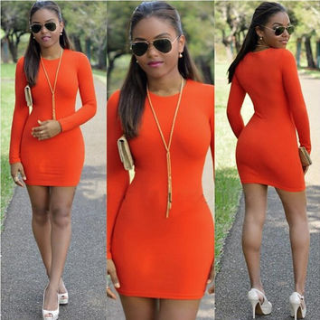 Orange Long sleeve Body-con Dress