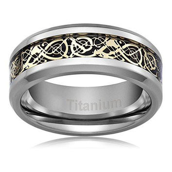 8MM Titanium Gold Plated Ring Wedding Band Celtic Dragon Design | FREE ENGRAVING