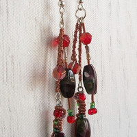 Lampworked Glass Copper Wrapped Red & Green by VenganzyJewelry