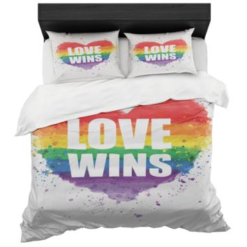 Gay Pride Love Wins Rainbow Heart Duvet Cover And 2 Standard Pillow Shams King And Queen Sizes
