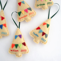 Personalized Holiday decor, Christmas felt ornaments in beige with colorful bunting - Set of three 3