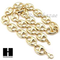 ONETOW 14K Gold Plated 5 to 25mm wide 9' 24' 30' 36' Puffed Mariner Gucci Link Chain
