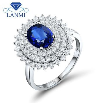 Sri Lanka Blue Sapphire Diamond Engagement Ring Oval Cut 6x8mm 18K White Gold For Women Wedding Genuine Gemstone Jewelry WU261