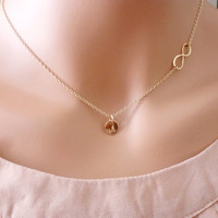 Personalized Infinity necklace 14k Gold Infinity Necklace Personalized Initial Necklace Bridesmaids Necklace Gift Mother's Necklace