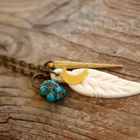 Bone Feather//Moon//Brass Spike//Turquoise Pebble Necklace on Long Chain
