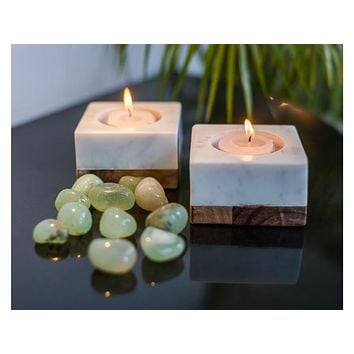 Marble and Wood Tea Light or Pillar Candle Holders