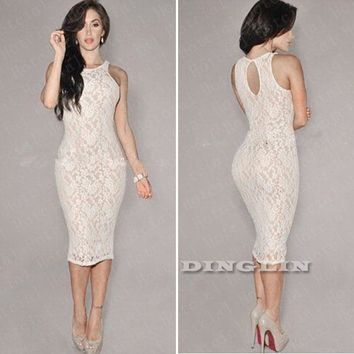 2015 Sexy Women Ladies Lace Crochet Bodycon Bandage Evening Party Cocktail Dress