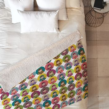 Sharon Turner Matryoshka Candy Polka Fleece Throw Blanket