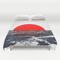 Ocean view with red sun illustration Duvet Cover by Nicholas Ellinas