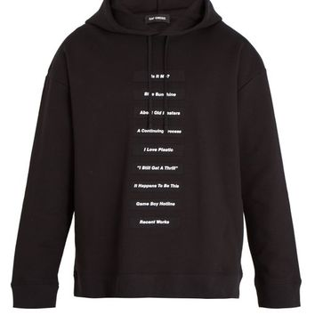 Lyrics-print cotton-jersey hooded sweatshirt | Raf Simons | MATCHESFASHION.COM UK
