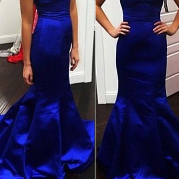Sweetheart Royal Blue Mermaid Prom Dresses