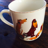 Vintage Disney Lady & The Tramp Porcelain Mug / Disneyland / Disney World / Dogs / Cartoon / Movie / Coffee Cup