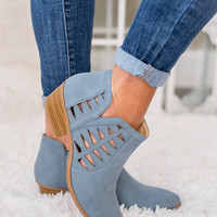 Take A Chance Cutout Detail Booties (Blue)