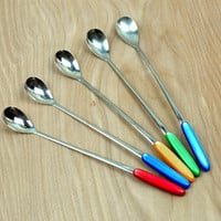 Set of Five Vintage Baby Spoons or Bar Spoons , Rainbow Colors , Plastic Handles