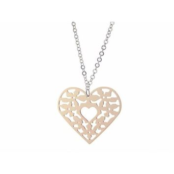 """Sterling SilverPink Heart Pendant Necklace Filigree
