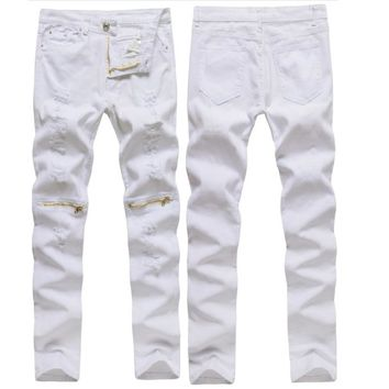 HOT 2018 Fashion Casual Man ripped hole knee stretch pants zipper cut white/red/green/black slacks feet nightclub jeans men