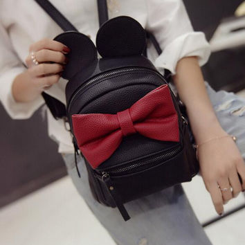 2016Autumn Winter new Female bag Quality pu leather Women bag Korean version of Mickey ears Sweet bow College Wind Mini backpack