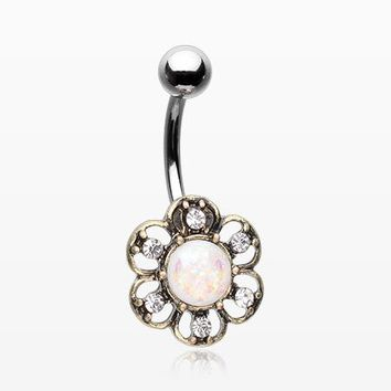 Vintage Opalescent Sparkle Flower Belly Button Ring