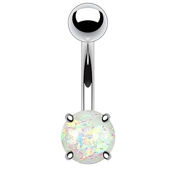 BodyJ4You Belly Button Ring Clear White Created-Opal Glitter Piercing Jewelry