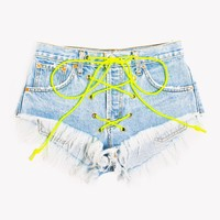 Rodeo Neon Lace Up Stoner Babe Shorts