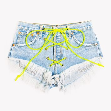 Neon Lace Up Stoner Babe Shorts