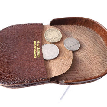 Leather Coin Purse / English Leather Coin Pouch / Vintage English Leather Wallet / Money Holder / Unisex Purse / Vintage Accessory