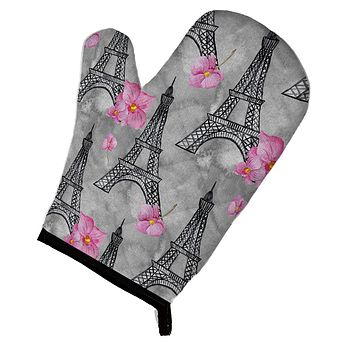 Watercolor Pink Flowers Eiffel Tower Oven Mitt BB7503OVMT