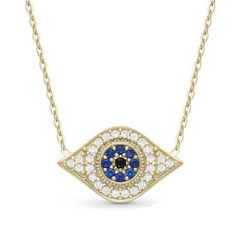 Hamsa Hand Of Fatima Blue Eyes Pearl Chain Necklace Pendant Jewelry