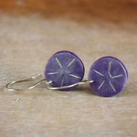 Minimalist purple flower disk earrings,contemporary trendy polymer clay jewelry