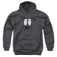 COURAGE THE COWARDLY DOG/SCARED-YOUTH PULL-OVER HOODIE - CHARCOAL - XL