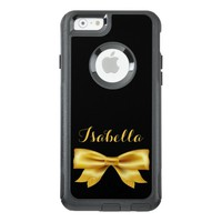 Gold colored bow on black with name OtterBox iPhone 6/6s case