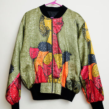 Vintage 80s/90s Abstract Art Deco Picasso Zip Up Bomber Jacket Unisex