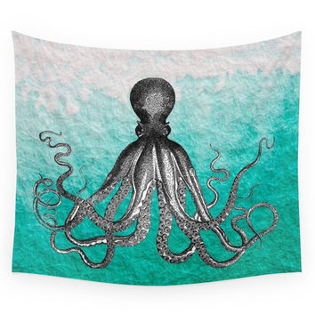 Society6 Antique Nautical Steampunk Octopus Vinta Wall Tapestry
