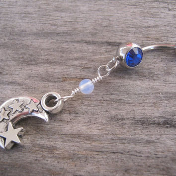 Moon & Stars Belly Ring, Opal Opalite Moonstone Half Moon Belly Button Ring, Starry Night Belly Piercing, Choose Your Crystal Body Jewelry