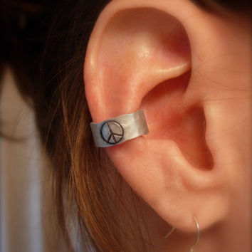 Ear Cuff Hand Hammered Aluminum with a PEACE sign by jhammerberg