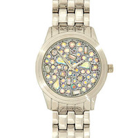 Silver iridescent gem embellished watch