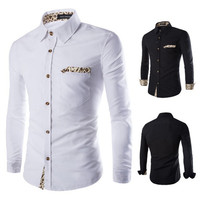 Leopard Design Men's Fashion Dress Shirt