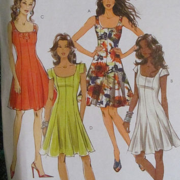 SALE Uncut McCall's Sewing Pattern, 6027! Size 6-8-10-12, Small to Medium, Women's Misses, Summer/Spring Dresses, Short Sleeves/Sleeveless