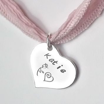 Little Girls Custom Necklace, Heart Charm and Ribbon