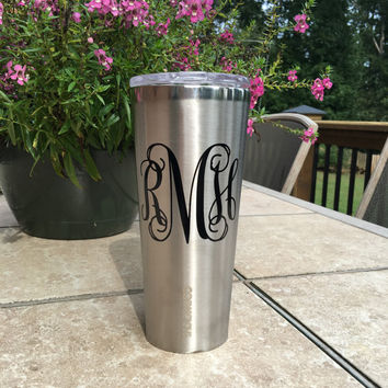 Personalized STAINLESS Steel Colored Corkcicle Rambler 24 oz. Tumbler with Monogram NEW COLORS Spring 2016