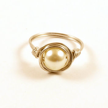 White Pearl Wire Wrapped Ring Size 7 Sterling Silver Wire Wrapped Ring