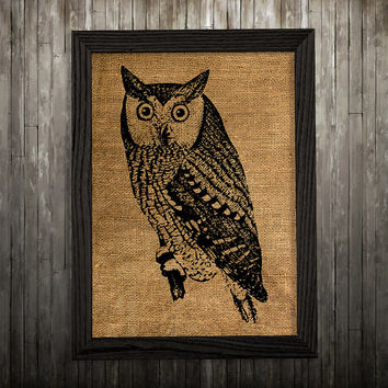Animal art Owl poster Bird print Burlap print BLP157
