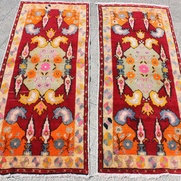 Pair Vintage Carpet Turkish Oushak Rug  Carpet Two Pieces 550 Usd .Each rug is 75 x 33 inches Free Shipping