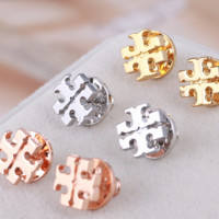 Tory burch fashion classic letter metal earrings for women three color