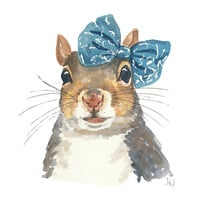 Squirrel Watercolour Illustration - Original Painting, Squirrel in a Bow, Animal Art, 8x10