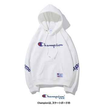 Champion Tide brand autumn and winter embroidery letters couple models hooded sweater White
