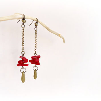 Coral reef- Beachy minimalist long earrings. Red bamboo Coral sticks, antique brass drops.Gift for her.Sea Lover
