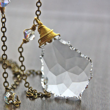 Clear Crystal Necklace Swarovski Baroque Crystal Pendant Aurora Borealis Faceted Large Briolette April Birthstone Antique Brass Jewelry