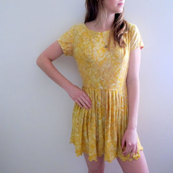 Vintage Yellow Dress Summer Spring Flowers Floral Print Mini Babydoll Knee Length Party Boho