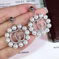 GUCCI Newest Popular Women Temperament Diamond Pearl Pendant Earrings Accessories Jewelry